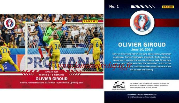 Panini Instant Euro 2016 - N° 001 - Olivier GIROUD