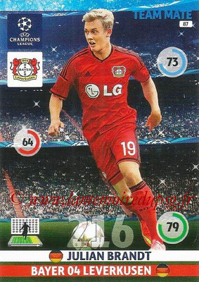 2014-15 - Adrenalyn XL champions League N° 087 - Julian BRANDT (Bayer Leverkusen)