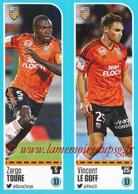 2016-17 - Panini Ligue 1 Stickers - N° 306 + 307 - Zargo TOURE + Vincent LE GOFF (Lorient)