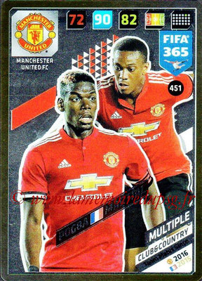 2017-18 - Panini FIFA 365 Cards - N° 451 - Paul POGBA + Anthony MARTIAL (Manchester United) (Club & Country)