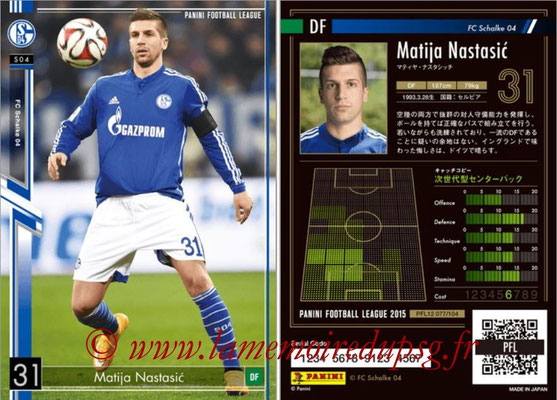 Panini Football League 2015 - PFL12 - N° 077 - Matija NASTASIC (FC Schalke 04)