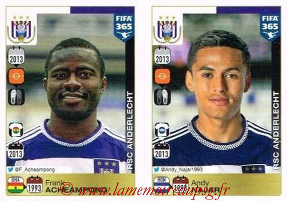 2015-16 - Panini FIFA 365 Stickers - N° 155-156 - Frank ACHEAMPONG + Andy NAJAR (RSC Anderlecht)