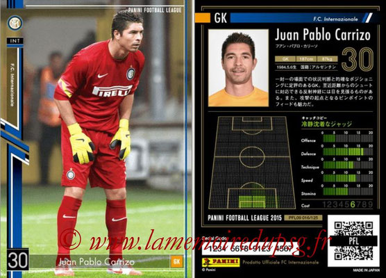 Panini Football League 2015 - PFL09 - N° 016 - Juan Pablo CARRIZO (Inter)