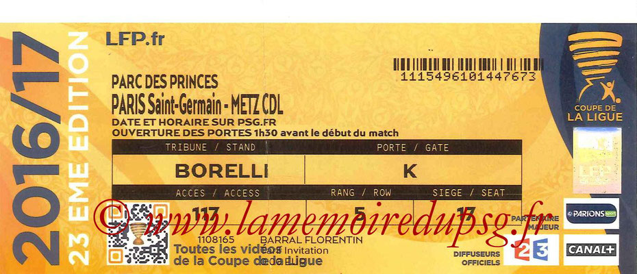Tickets  PSG-Metz  2016-17
