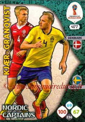 2018 - Panini FIFA World Cup Russia Adrenalyn XL - N° 477 - Simon KJAER (Danemark) + Andreas GRANQVIST (Suede) (Nordic Captains) (Nordic Edition)
