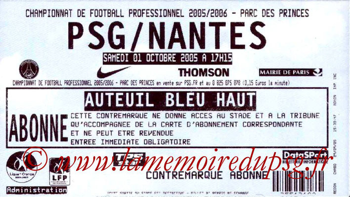 Tickets  PSG-Nantes  2005-06