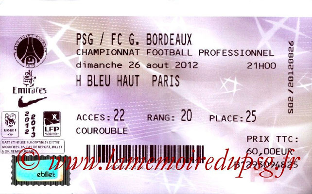 Tickets  PSG-Bordeaux  2012-13