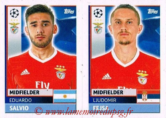 2016-17 - Topps UEFA Champions League Stickers - N° BEN 12-13 - Ljudomir FEJSA + Eduardo SALVIO (SL BenFica)