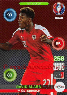 Panini Euro 2016 Cards - N° 230 - David ALABA (Autriche) (Top Joueur)