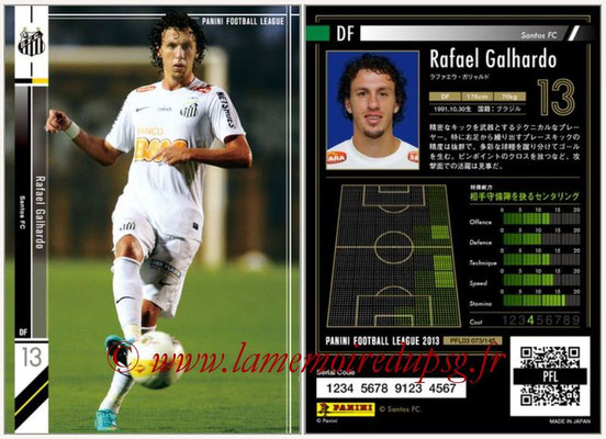 Panini Football League 2013 - PFL03 - N° 073 - Rafael Galhardo (FC Santos)