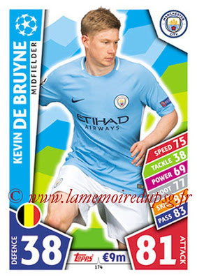 2017-18 - Topps UEFA Champions League Match Attax - N° 174 - Kevin DE BRUYNE (Manchester City FC)