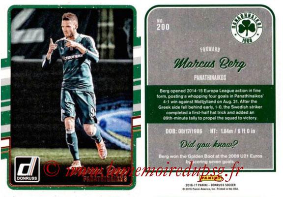 2016 - Panini Donruss Cards - N° 200 - Marcus BERG (Panathinaikos)