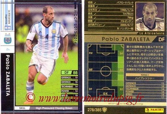 2013-14 - WCCF - N° 278 - Pablo ZABALETA (Argentine)