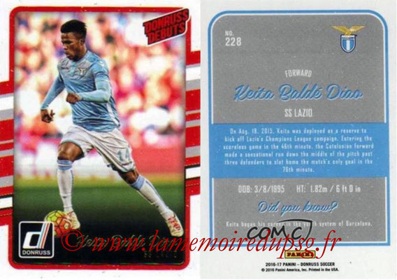 2016 - Panini Donruss Cards - N° 228 - Keita BALDE DIAO (SS Lazio) (Donruss Debuts)