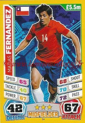 Topps Match Attax England 2014 - N° 054 - Matias FERNANDEZ (Chili)