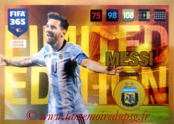 2016-17 - Panini Adrenalyn XL FIFA 365 - N° LE57 - Lionel MESSI (Argentine) (Limited Edition)