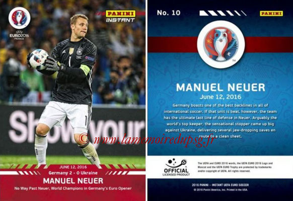 Panini Instant Euro 2016 - N° 010 - Manuel NEUER