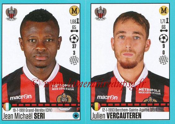 2016-17 - Panini Ligue 1 Stickers - N° 666 + 667 - Jean Michaël SERI + Julien VERCAUTEREN (Nice)