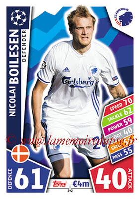 2017-18 - Topps UEFA Champions League Match Attax - N° 292 - Nicolai BOILESEN (FC Copenhague)