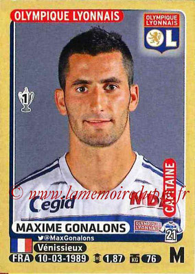 2015-16 - Panini Ligue 1 Stickers - N° 208 - Maxime GONALONS (Olympique Lyonnais) (Capitaine)