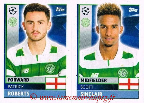 2016-17 - Topps UEFA Champions League Stickers - N° QFB 13-14 - Scott SINCLAIR + Patrick ROBERTS (Celtic FC)