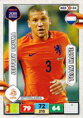2018 - Panini Road to FIFA World Cup Russia Adrenalyn XL - N° NED04 - Jeffrey BRUMA (Pays-Bas)