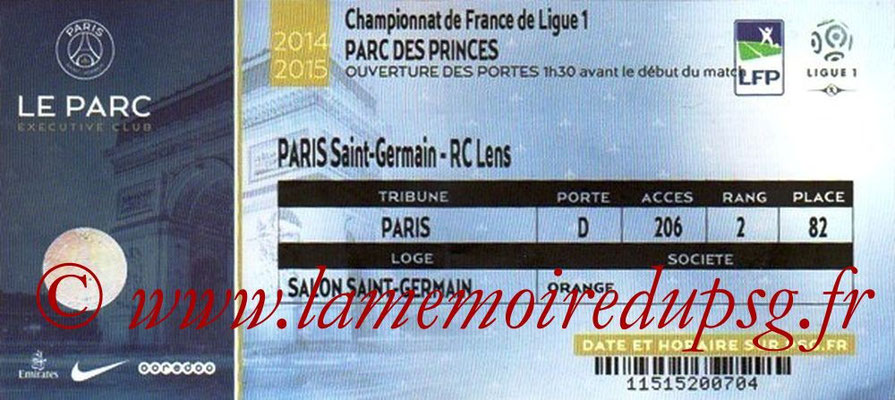 Tickets PSG-Lens  2014-15