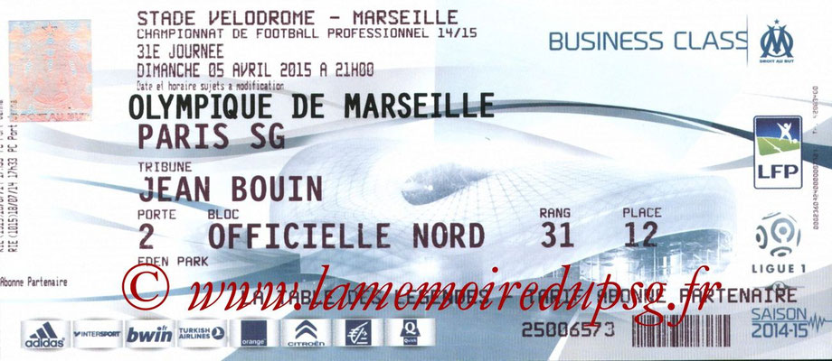 Tickets  Marseille-PSG  2014-15