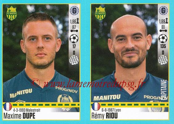 2016-17 - Panini Ligue 1 Stickers - N° 608 + 609 - Maxime DUPE + Rémy RIOU (Nantes)