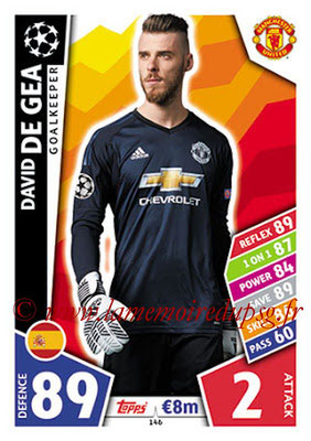 2017-18 - Topps UEFA Champions League Match Attax - N° 146 - David DE GEA (Manchester United)