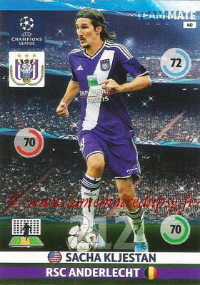 2014-15 - Adrenalyn XL champions League N° 040 - Sacha KLJESTAN (RSC Anderlecht)