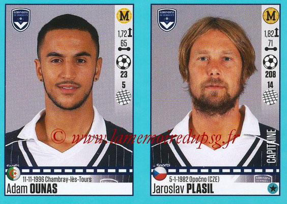 2016-17 - Panini Ligue 1 Stickers - N° 116 + 117 - Adam OUNAS + Jaroslav PLASIL (Bordeaux)