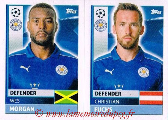 2016-17 - Topps UEFA Champions League Stickers - N° LEI 6-7 - Christian FUCHS + Wes MORGAN (Leicester City FC)