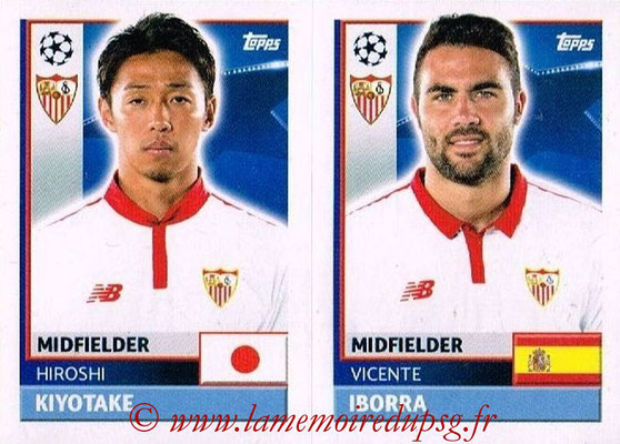 2016-17 - Topps UEFA Champions League Stickers - N° SEV 12-13 - Vicente IBORRA + Hiroshi KIYOTAKE (FC Seville)