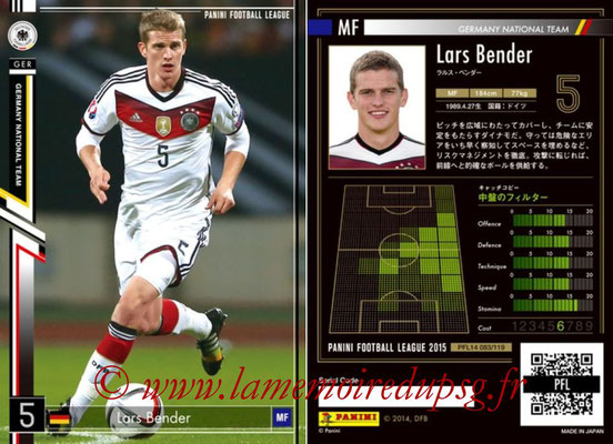 Panini Football League 2015 - PFL14 - N° 083 - Lars BENDER (Allemagne)