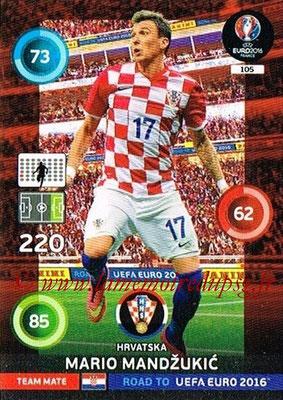 Panini Road to Euro 2016 Cards - N° 105 - Mario MANDZUKIC (Croatie)
