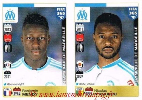 2015-16 - Panini FIFA 365 Stickers - N° 404-405 - Benjamin MENDY + Nicolas N'KOULOU (Olympique de Marseille)