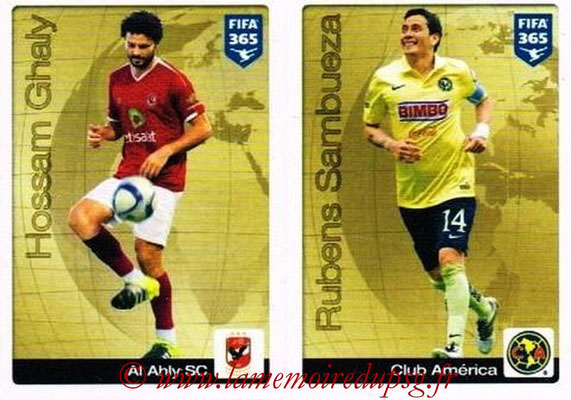 2015-16 - Panini FIFA 365 Stickers - N° 003-004 - Hossam GHALY (Al Ahly SC) + Rubens SAMBUEZA (Club Ameica) (Gold Sticker)