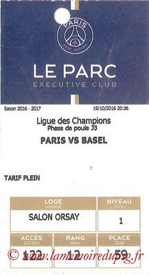 Tickets  PSG-FC Bâle  2016-17