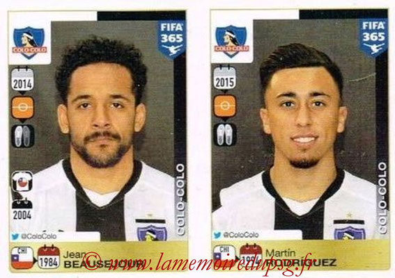 2015-16 - Panini FIFA 365 Stickers - N° 230-231 - Jean BEAUSEJOUR + Martín RODRIGUEZ (Colo Colo)