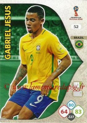 2018 - Panini FIFA World Cup Russia Adrenalyn XL - N° 052 - Gabriel JESUS (Brésil)