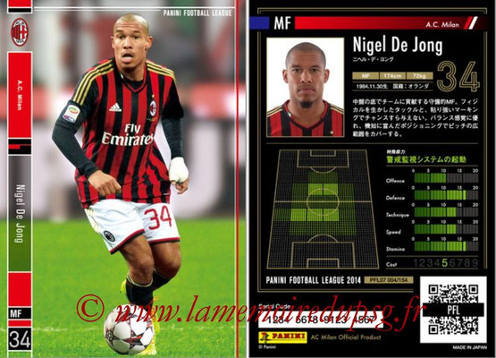 Panini Football League 2014 - PFL07 - N° 004 - Nigel DE JONG (Milan AC)