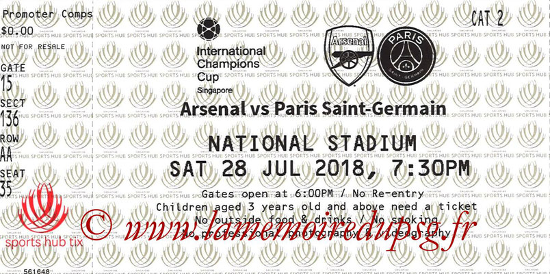 Ticket  Arsenal-PSG  2018-19