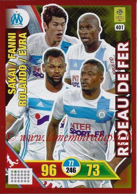 2017-18 - Panini Adrenalyn XL Ligue 1 - N° 401 - SAKAI + FANNI + ROLANDO +EVRA (Marseille) (Rideau de Fer)