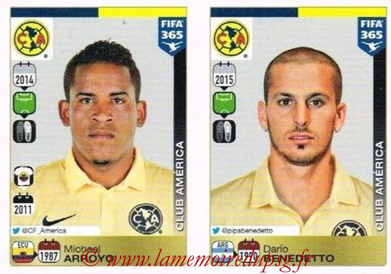 2015-16 - Panini FIFA 365 Stickers - N° 637-638 - Michael ARROYO + Darío BENEDETTO (Club America)