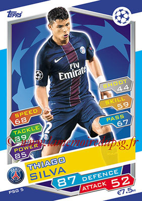 2016-17 - Topps UEFA Champions League Match Attax - N° PSG5 - Thiago SILVA (Paris Saint-Germain)