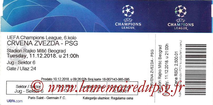 Ticket  Etoile Rouge de Belgrade-PSG  2018-19