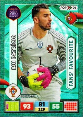 2018 - Panini Road to FIFA World Cup Russia Adrenalyn XL - N° POR06 - Rui PATRICIO (Portugal) (Fans' Favourite)