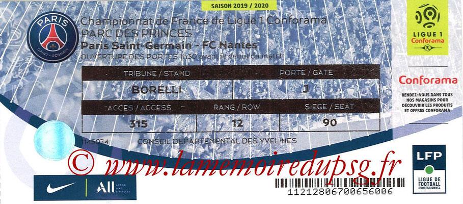 Tickets  PSG-Nantes  2019-20