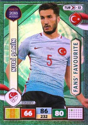 2018 - Panini Road to FIFA World Cup Russia Adrenalyn XL - N° TUR13 - Nuri SAHIN (Turquie) (Fans' Favourite)